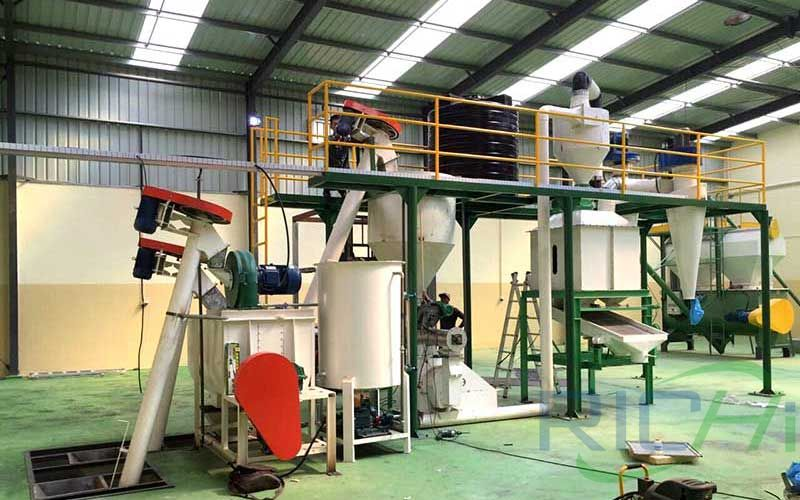 Process Of 2 ton/h feed pellet production line